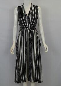 Women's Girl's Black & White Stripe Self Tie-up Casual Summer Spotty Midi Dress