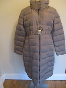 SERAPHINE MATERNITY LONG TAUPE DOWN FILL QUILTED MAC COAT JACKET SIZE 16 BNWT