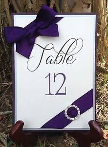 Plum, Silver, And Cream Layered Table Number