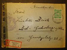US Civil Mil Censorship 1946  Reco-Brief  v Frankfurt n Bad Godesberg/Rhein