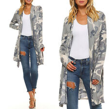 Womens Casual Camo Open Amry Cardigan Coat Camouflage Long Coat Outwear Jacket