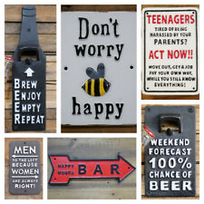 METAL CAST IRON WALL SIGNS AND WALL BOTTLE OPENERS VINTAGE AGED DESIGN