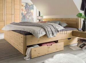 Massivholz Schubladen-bett 160x200x45cm Kiefer massiv gelaugt geölt Doppelbett