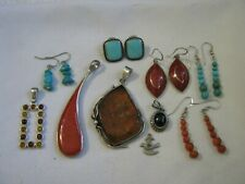 Amber, Coral, Onyx, Two Troy Ounces Lot of Unmarked Silver Jewelry, Turquoise,
