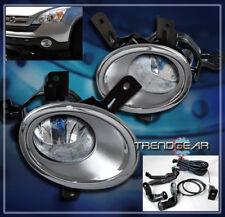 FOR 2007-2009 HONDA CR-V CRV BUMPER DRIVING FOG LIGHT LAMP W/CHROME BEZEL+SWITCH