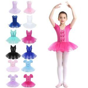 Kids Girls Sequined Mesh Splice Tutu Dress Ballet Dance Performing  Dancewear