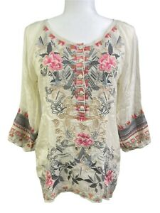Johnny Was Mari Shell Cream Embroidered Boho Top Blouse C14819-9 Size XS NWT!
