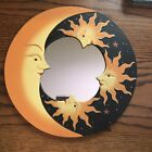 """NEW MOON & STARS MIRROR 12"""" Hand Carved & Painted Yellow"""