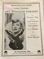 Desire Marlene Dietrich Gary Cooper John Halliday Vtg 1936 Danish Movie Program