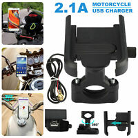2in1 Motorcycle Handlebar Bicycle USB Phone Charging Stand Holder Bracket Mount
