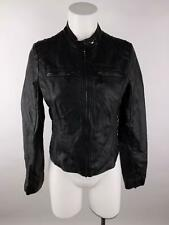 JouJou Women sz M Black Full Zip Zip Pockets Faux Leather Lined Moto Jacket