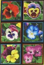 "6 Block Pansy Fabric Panel 7"" Quilt Squares Bright Purple Pink Blue Yellow"