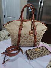 Michael kors large brown logo handbag and matching zip around wallet set