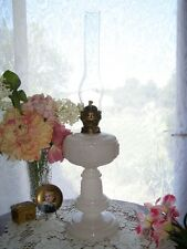 Antique Bismarck Opal English Make Kerosene Oil Lamp W/McBeth Chimney