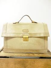 VINTAGE Distressed Beige 1970s Attache Messenger Satchel Bag Briefcase Portfolio