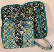 Blue Green & Yellow Coordinated Floral & Geometric Cotton Cloth Wrislet & Wallet