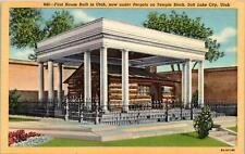 Salt Lake City UT 1st House under Pergola Temple Block Postcard unused 1930s/40s
