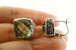 Green Amethyst Prasiolite Vermarine Ornate Edge Sterling Silver Stud Earrings