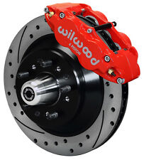 "WILWOOD DISC BRAKE KIT,FRONT,58-68 FORD,MERCURY,13"" DRILLED ROTORS,RED CALIPERS"
