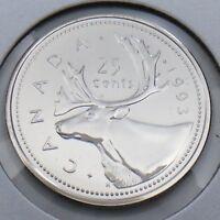 1993 Canada 25 Twenty Five Cent Quarter Brilliant Uncirculated BU Coin G483