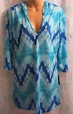 Portocruz Misses M Swimsuit Coverup Blue Tie Dye Hooded V Neck Beach Dress