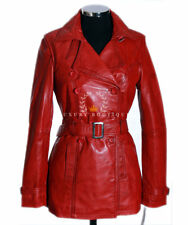 Paris Red Ladies Smart New Designer Real Lambskin Leather Fashion Trench Coat