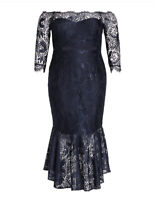 City Chic Navy Blue Estella Lace Dress Size 18 NWT Mermaid Hi-Lo