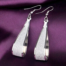 Long Earrings Silver Crystal Tear Water Drop Party Dangle Statement Wedding Prom