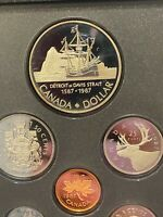 1987 Canada Proof 7 coin set, with OGP Silver Dollar mint pkg + COA