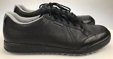 Excellent - Mens 14 - Ashworth Cardiff Spikeless Black Leather Golf Shoes G54230