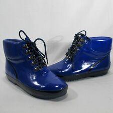Women's Vintage Ankle Lands End Blue Rain Boots with Blue Trim Size 7 (277521)