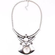 Vintage Style Tibet Silver Tribal Flat Plaque Pendant Chain Bib Necklace