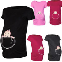 Women's Maternity Baby in Pocket Print T-Shirt Top Tee T-shirt Pregnancy Clothes