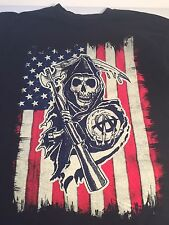 Sons of Anarchy (L) w/Flag & Grim Reaper Logo- Black 100% Cotton T-Shirt- Large
