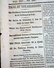 KIRBY SMITH Surrenders Civil War Ends & Trial of the CONSPIRATORS 1865 Newspaper