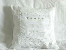 """Vintage Shabby Chic Coton blanc floral Batten Dentelle Design Housse De Coussin 16x16"""""""