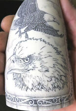 Scrimshaw Sperm Whale Tooth Resin Hand Carved Replica Ship Bone Eagle Fossil Art
