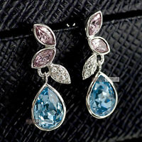 18k white gold gf made with SWAROVSKI crystal tear drop wedding party earrings