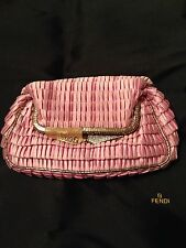 FENDI Kiss Lock Pink Ruffle Satin Rhinestone Evening Handbag clutch