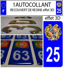 1 sticker plaque immatriculation auto DOMING 3D RESINE ARMOIRIE ARMENIE DEPA 25