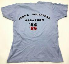 VINTAGE Stone Sculpture Marathon Shirt Size Medium M Blue Short Sleeve 1984 USA