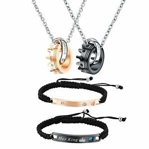 Couples Jewelry Set His Queen and Her King Bracelet Crown Ring Matching Necklace