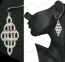"5cm drop 2""CRYSTAL CHANDELIER EARRINGS sparkly glass rhinestone silver plated"