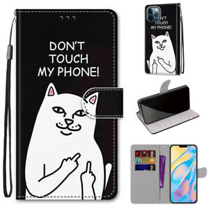 3D Anger White Cat Flip Stand Leather Card Wallet For Various Phone Case Covers
