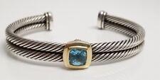 David Yurman 2 Row Sterling Silver & 18K Gold Cable Bracelet With Blue Topaz