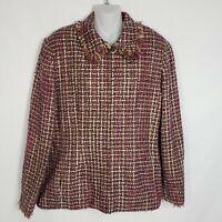 Alfred Dunner Womens Size 12 Tweed Blazer Jacket Full Zip Front Lined Fringe