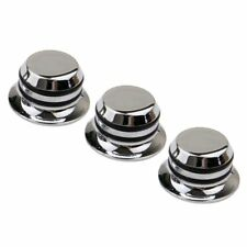 3 Pieces Chrome Plated Speed Control Dome Knob for Electric Guitar Silver