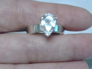 NATURAL WHITE TOPAZ RING 925 STERLING SILVER 3CT PEAR USA MADE SIZE 7