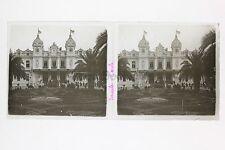 Casino Monaco Monte-Carlo Plaque verre stéréo Vintage Positif 6x13cm