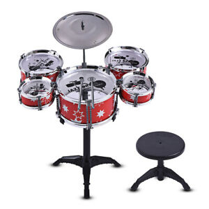 Children Kids Drum Set Toy 5 Drums with Small Cymbal Stool+Drum Sticks Musical